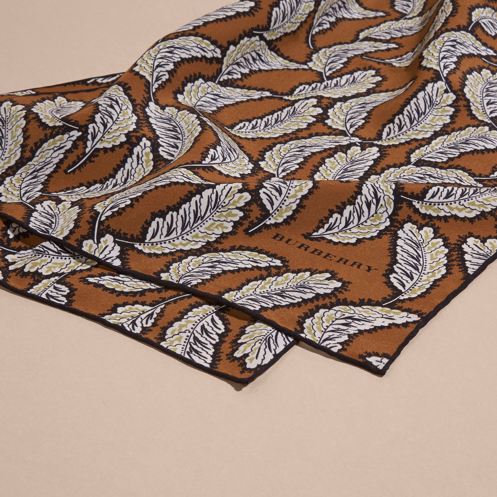 Bright toffee Leaf Print Silk Scarf Bright Toffee - gallery image 2