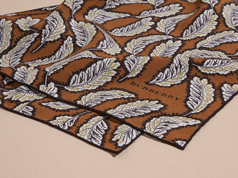 Bright toffee Leaf Print Silk Scarf Bright Toffee - cell image 1