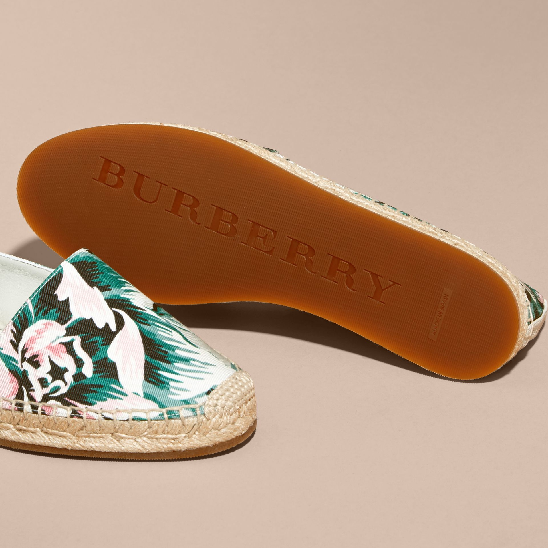 Peony Rose Print Canvas Espadrilles Emerald Green - gallery image 5
