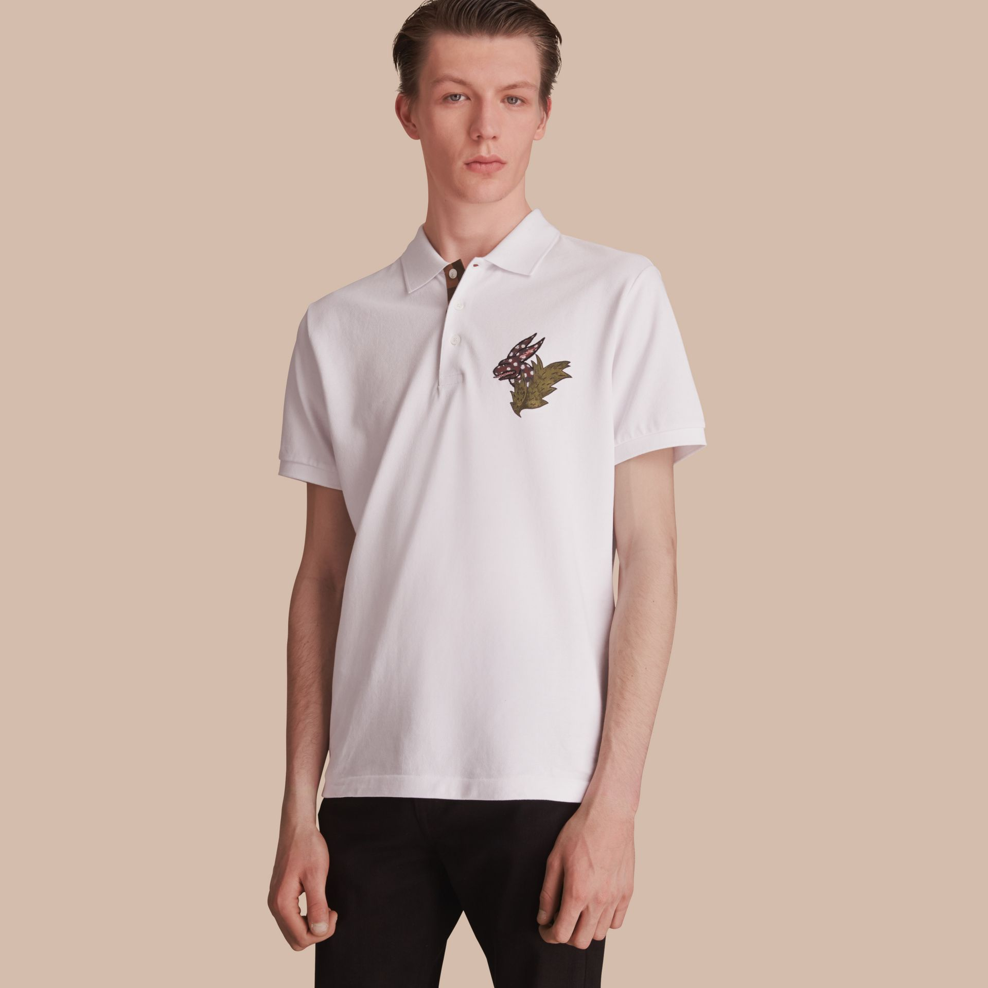 Beasts Motif Cotton Piqué Polo Shirt in White - gallery image 1