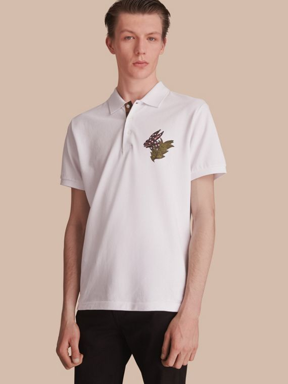 Beasts Motif Cotton Piqué Polo Shirt in White