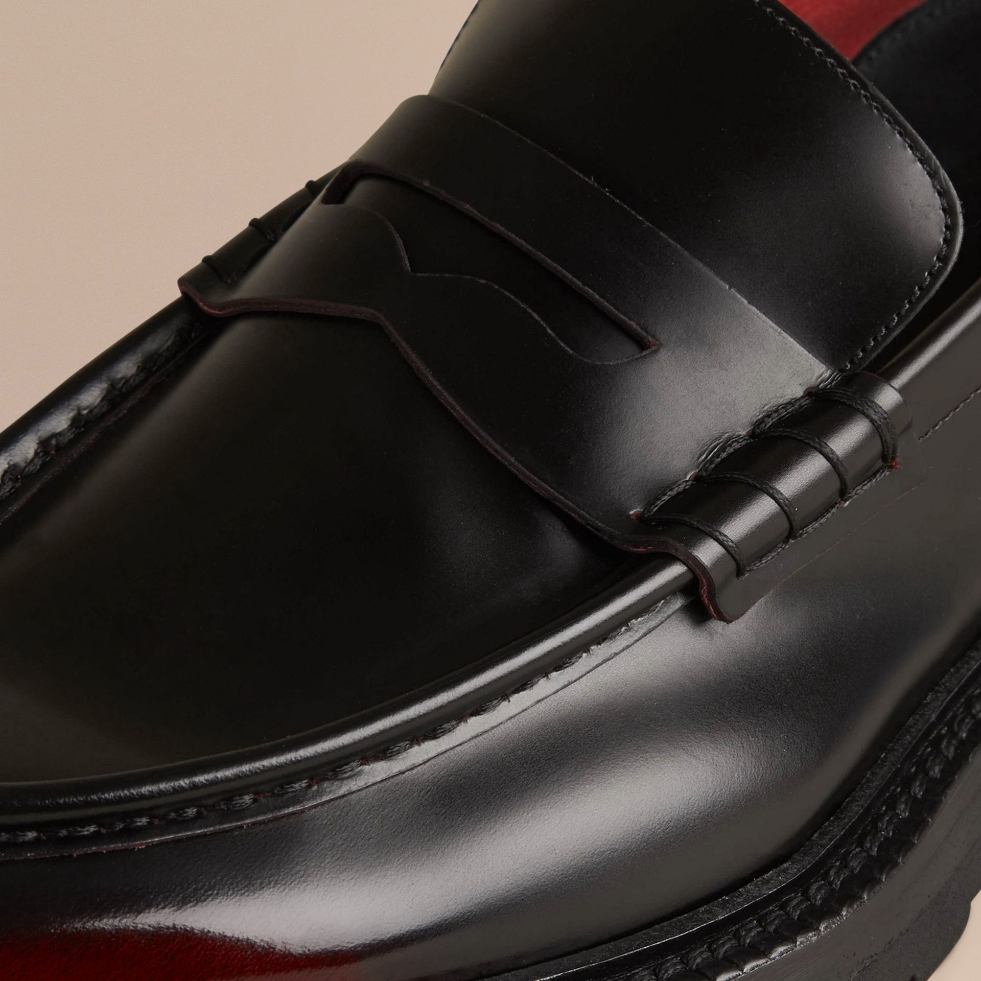 Bordeaux Rubber Sole Leather Loafers - gallery image 2