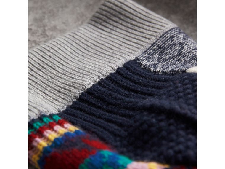 Pom-pom Fair Isle Cashmere Wool Beanie in Dark Teal | Burberry - cell image 1