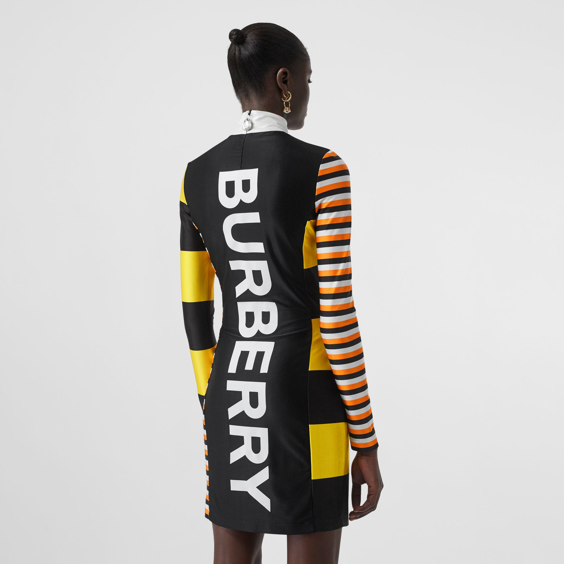 Flag Appliqué Striped Stretch Jersey Mini Dress in Black - Women | Burberry - gallery image 1