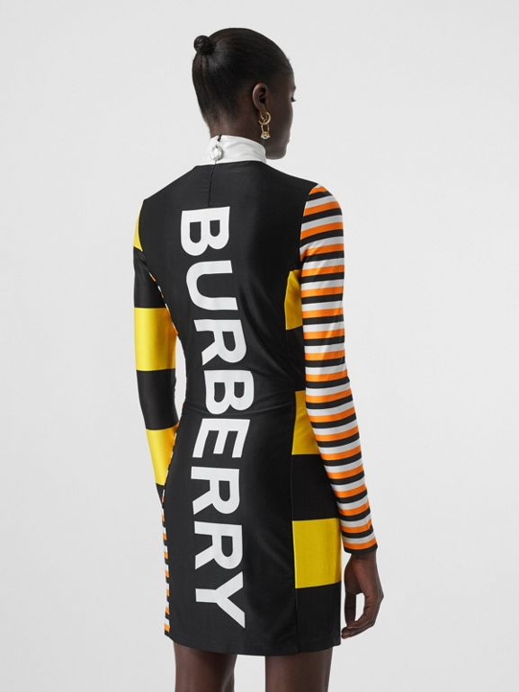 Flag Appliqué Striped Stretch Jersey Mini Dress in Black - Women | Burberry - cell image 1
