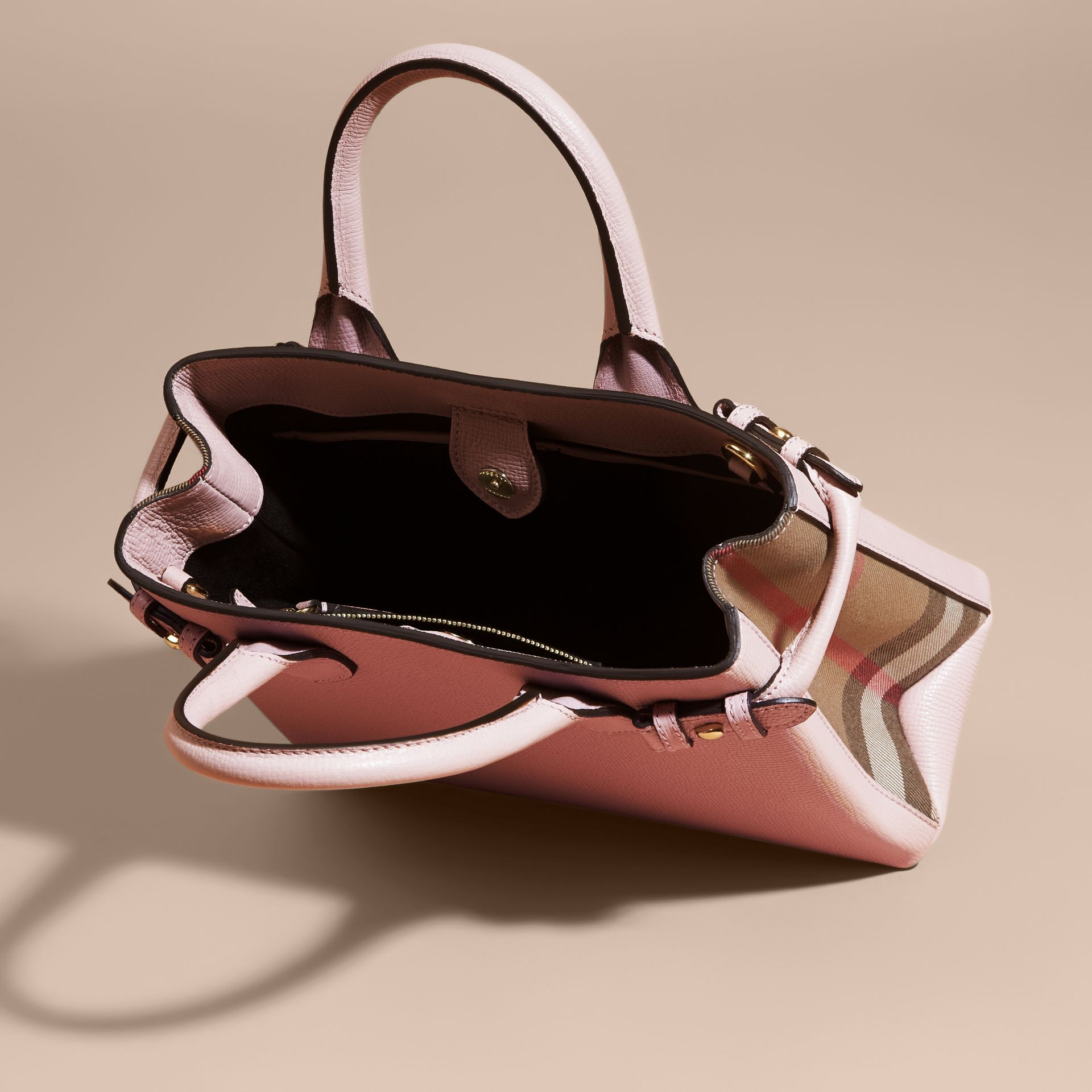 The Small Banner in Leather and House Check in Pale Orchid - Women | Burberry - gallery image 4