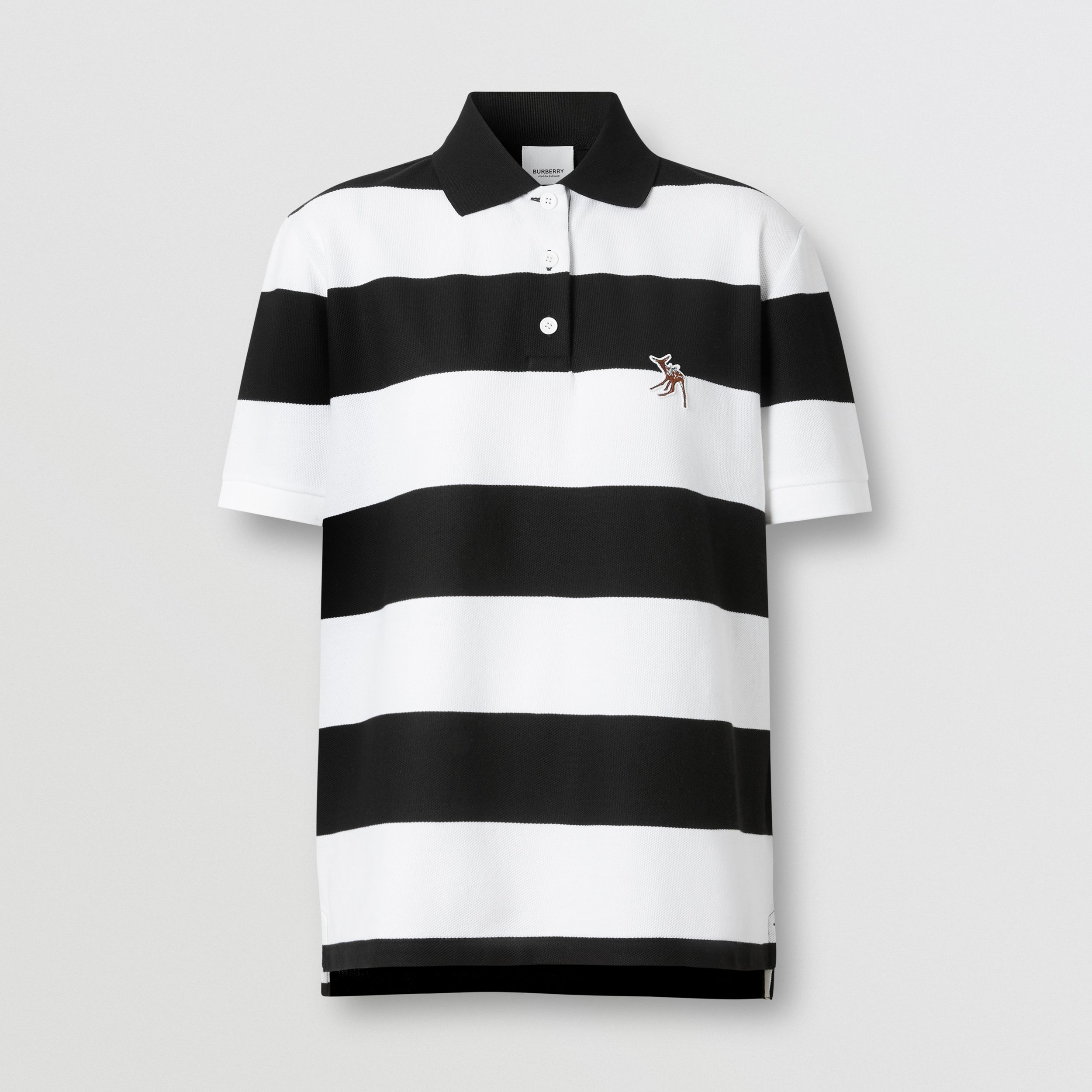Deer Motif Striped Cotton Piqué Oversized Polo Shirt in Black - Women | Burberry - 4