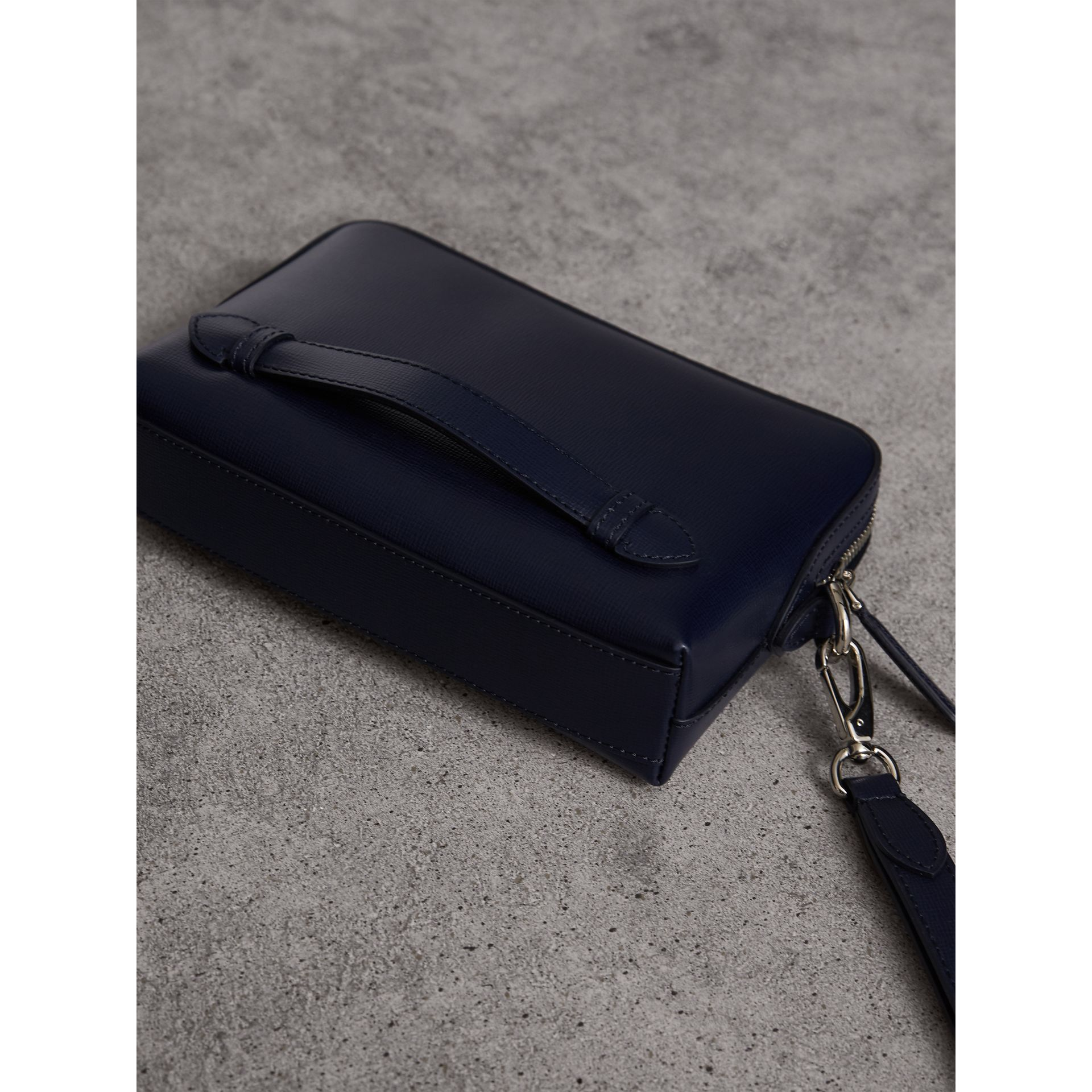 London Leather Pouch in Dark Navy - Men | Burberry - gallery image 3