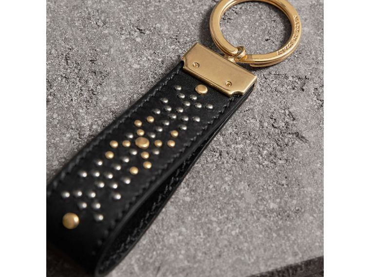 Riveted Leather Key Ring in Black - Men | Burberry United States - cell image 2