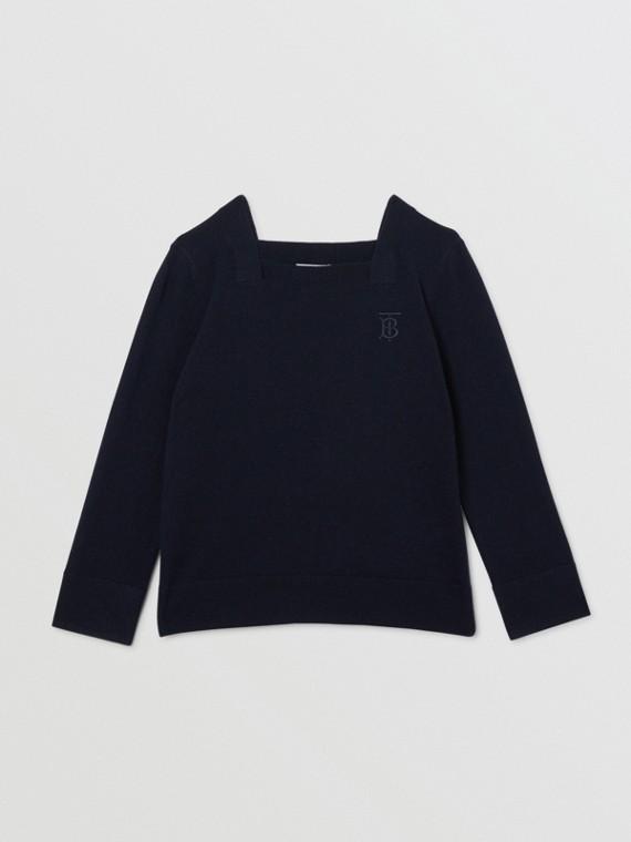 Suéter de cashmere com monograma (Azul Marinho)