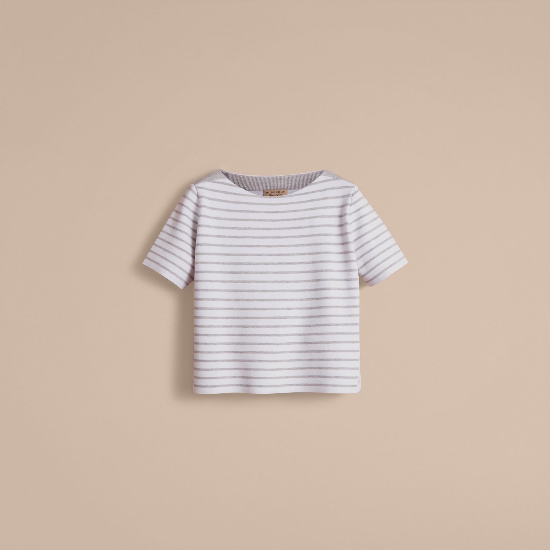 Check and Stripe Wool Blend T-shirt in Light Grey Melange - Women | Burberry - gallery image 4