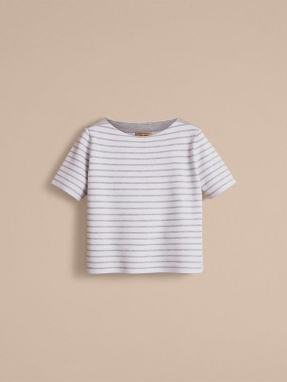 Check and Stripe Wool Blend T-shirt in Light Grey Melange - Women | Burberry - cell image 3