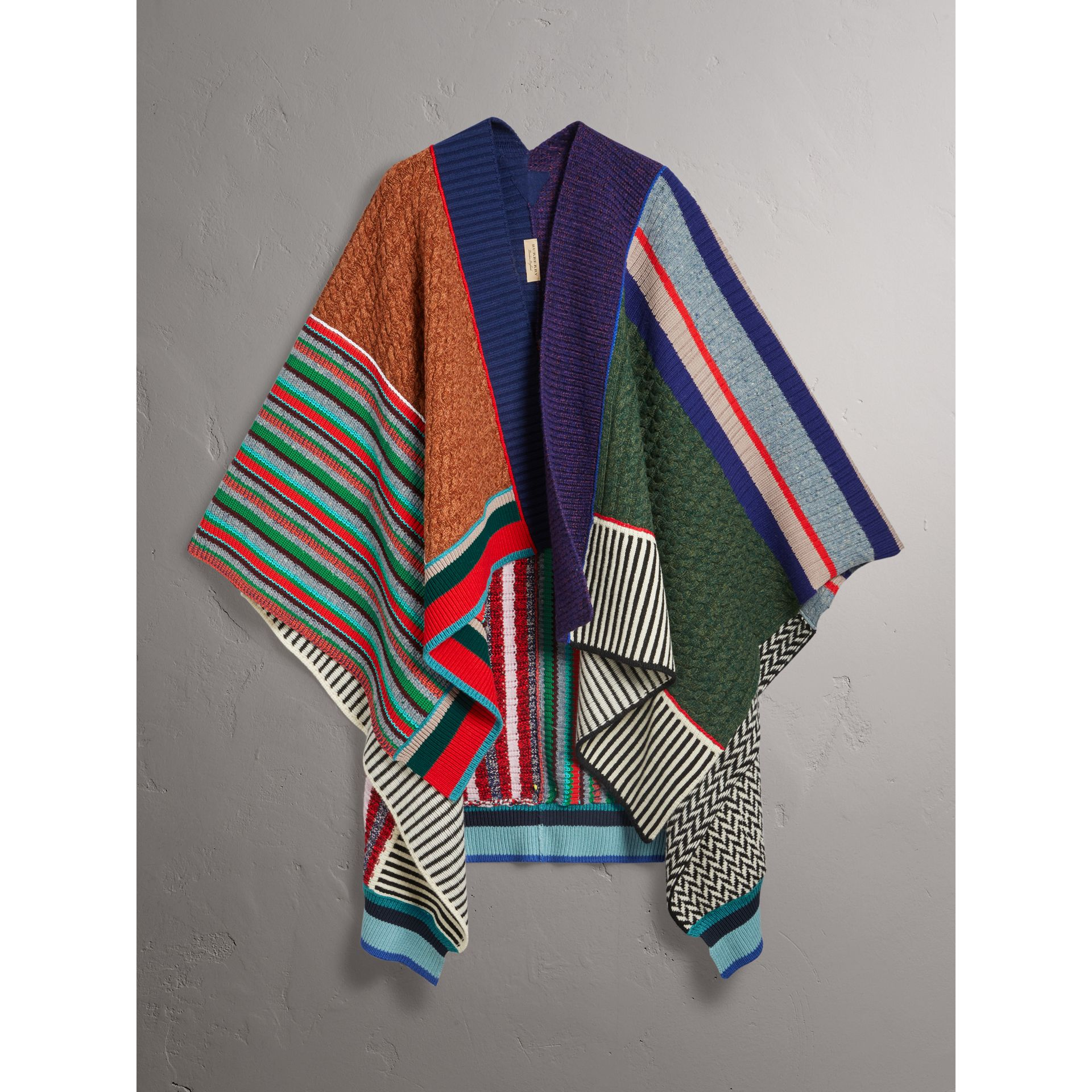 Wool Cashmere Blend Patchwork Poncho in Multicolour - Women | Burberry - gallery image 3
