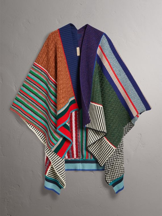 Wool Cashmere Blend Patchwork Poncho in Multicolour - Women | Burberry United Kingdom - cell image 3