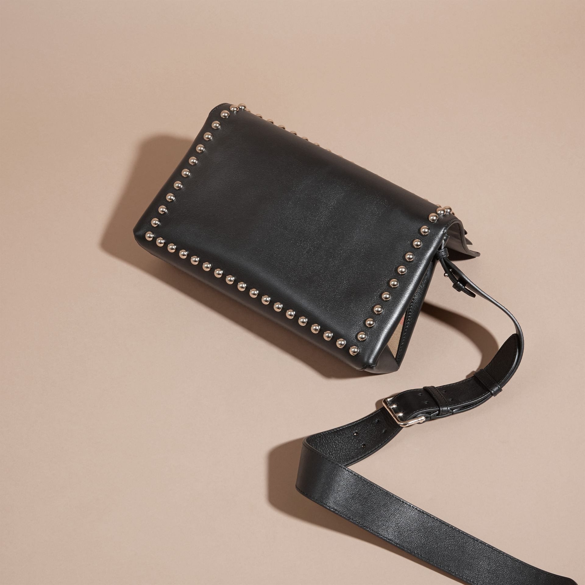 Black Smooth Leather Clutch Bag with Stud Detail - gallery image 5
