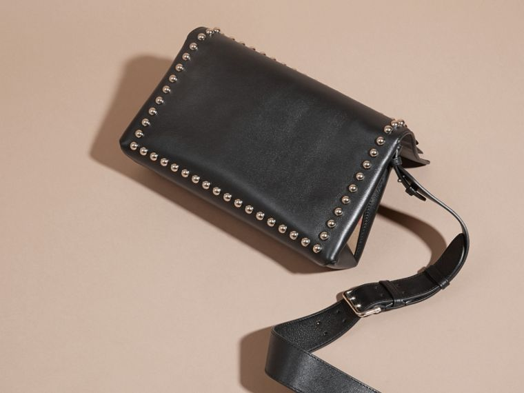 Black Smooth Leather Clutch Bag with Stud Detail - cell image 4