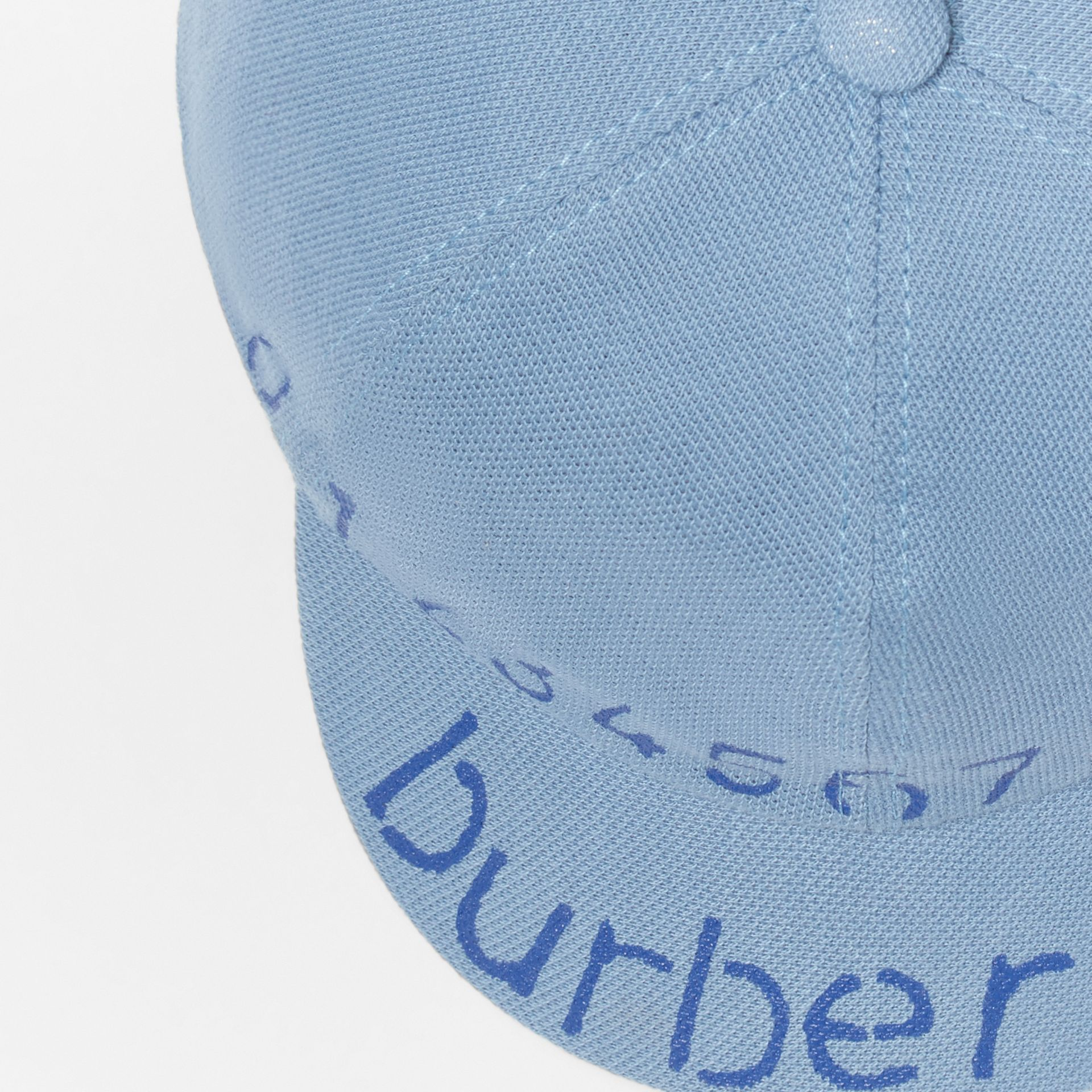 Stencil Logo Print Baseball Cap in Bright Cyan Blue - Children | Burberry - gallery image 1