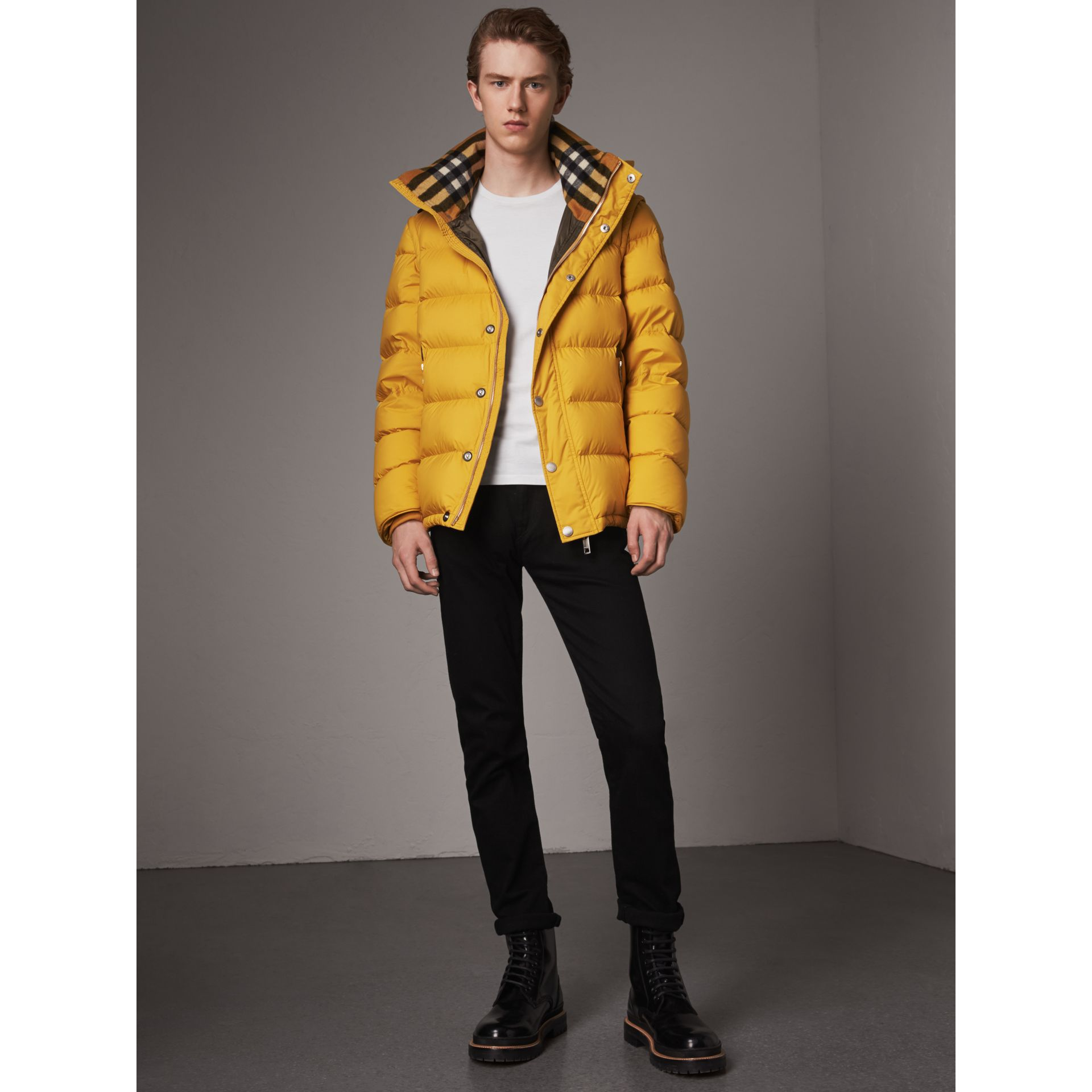 Detachable-sleeve Down-filled Puffer Jacket in Amber Yellow - Men | Burberry United Kingdom - gallery image 1