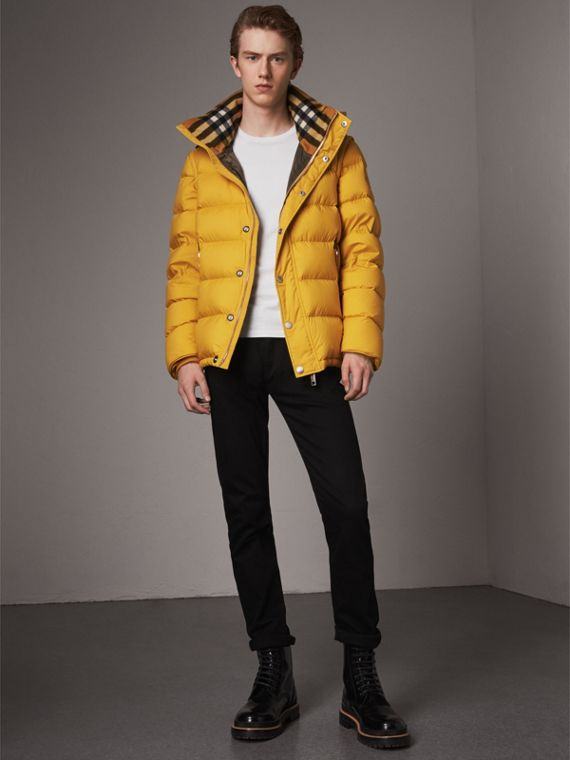 Detachable-sleeve Down-filled Puffer Jacket in Amber Yellow