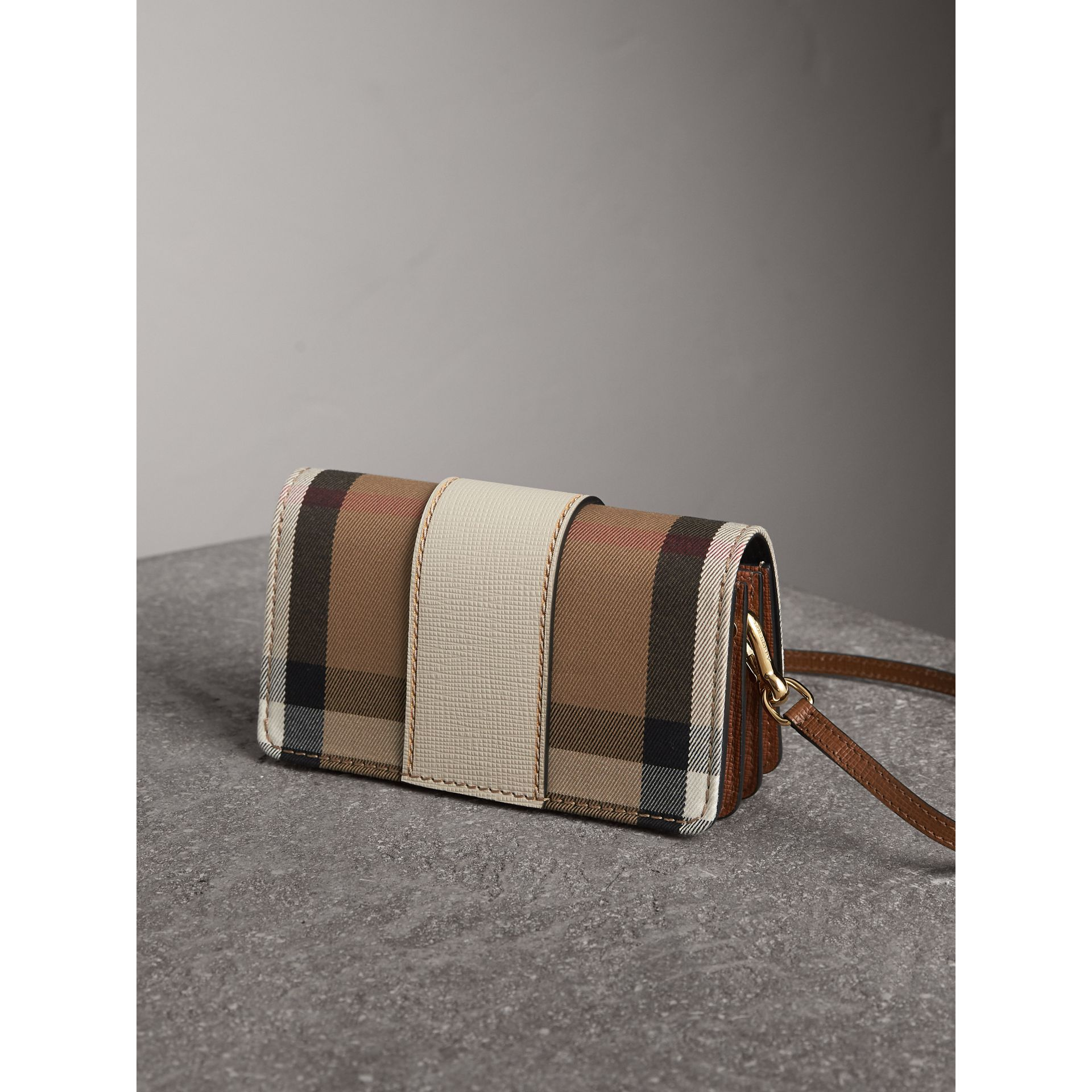 The Small Buckle Bag in House Check and Leather in Limestone - Women | Burberry Australia - gallery image 4