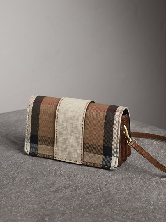 The Small Buckle Bag in House Check and Leather in Limestone - Women | Burberry - cell image 2