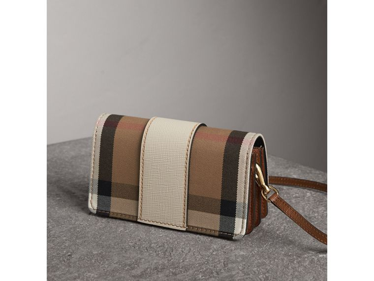 The Small Buckle Bag in House Check and Leather in Limestone - Women | Burberry Australia - cell image 4