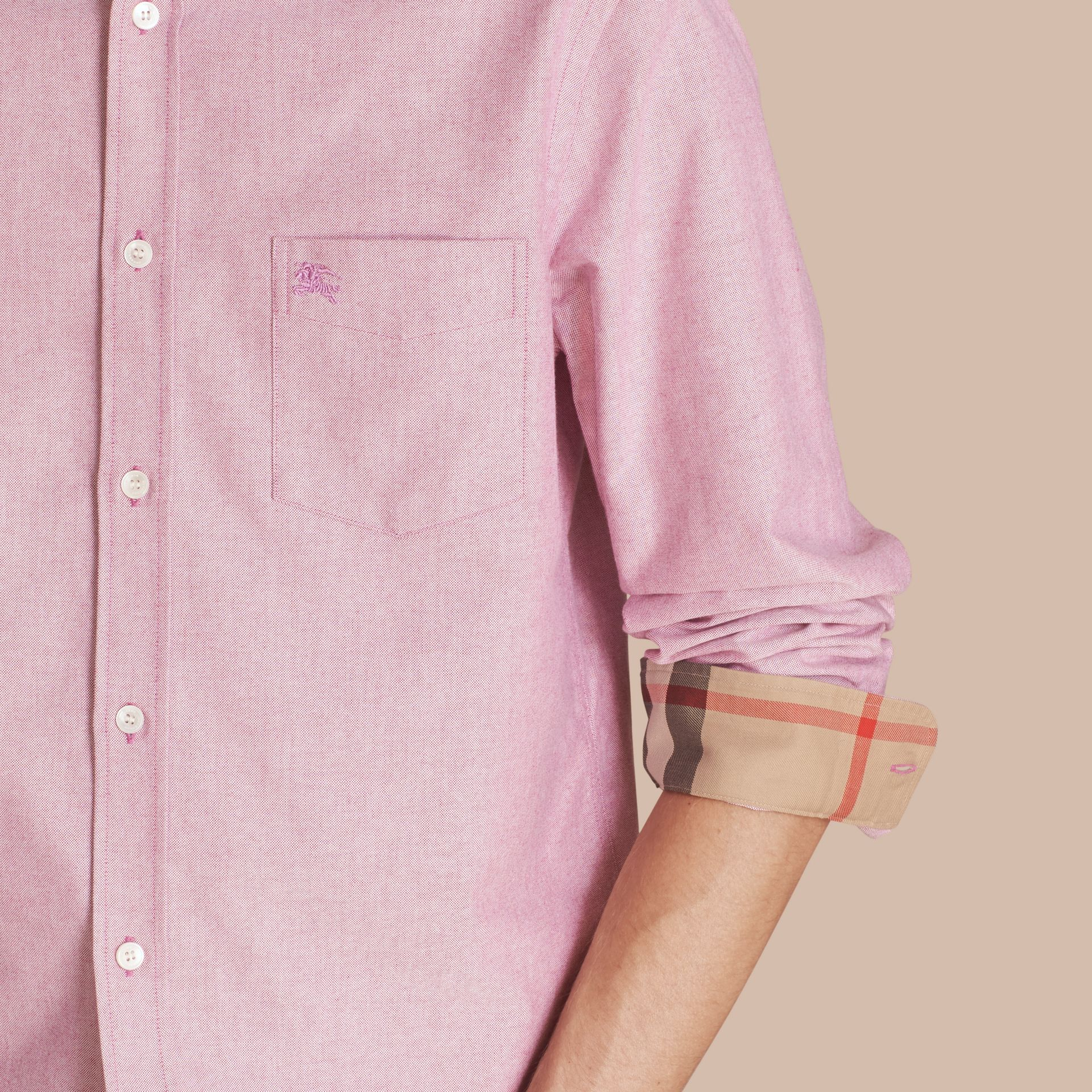 Check Detail Cotton Oxford Shirt in Bright Rose - Men | Burberry - gallery image 5