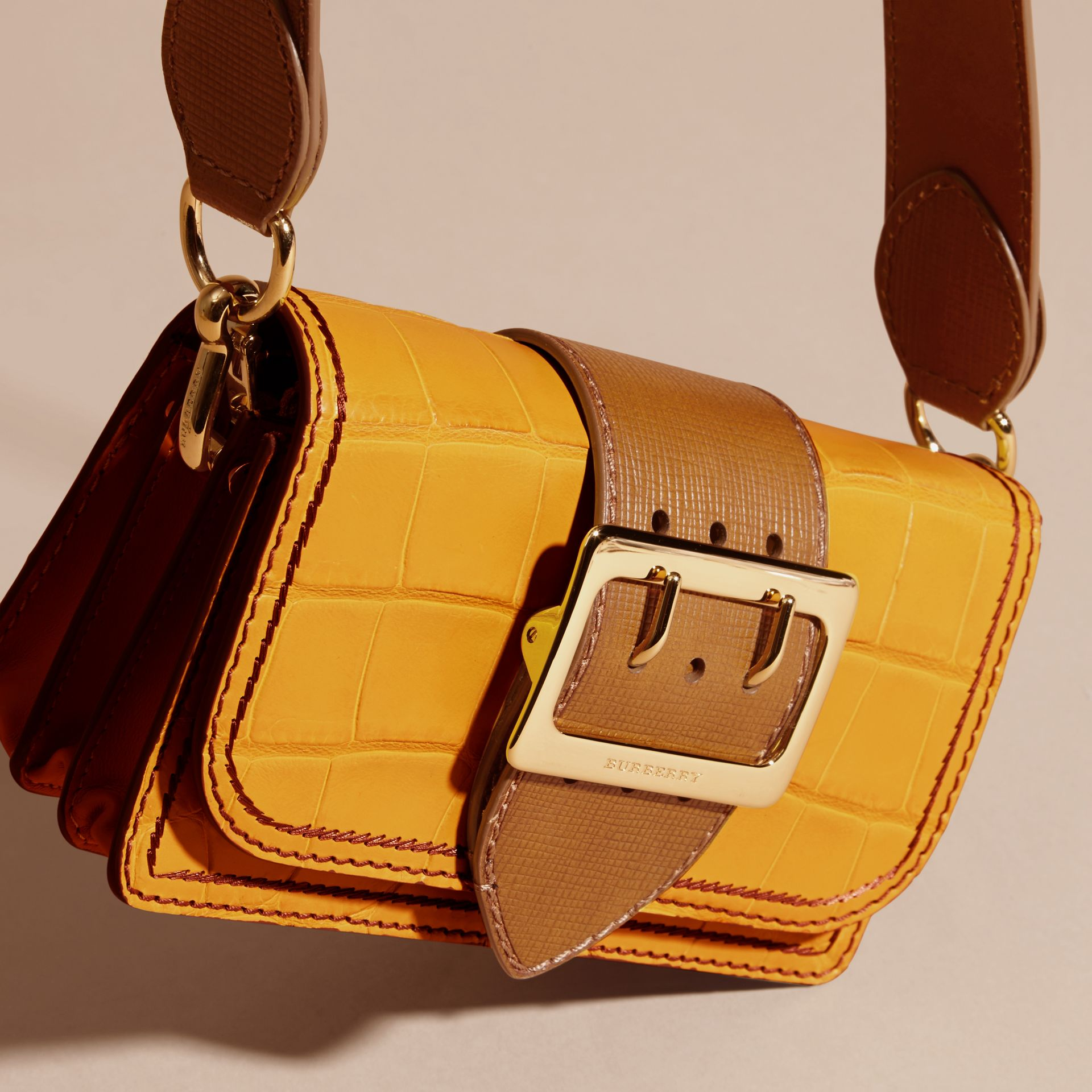 Citrus yellow / tan The Small Buckle Bag in Alligator and Leather Citrus Yellow / Tan - gallery image 7