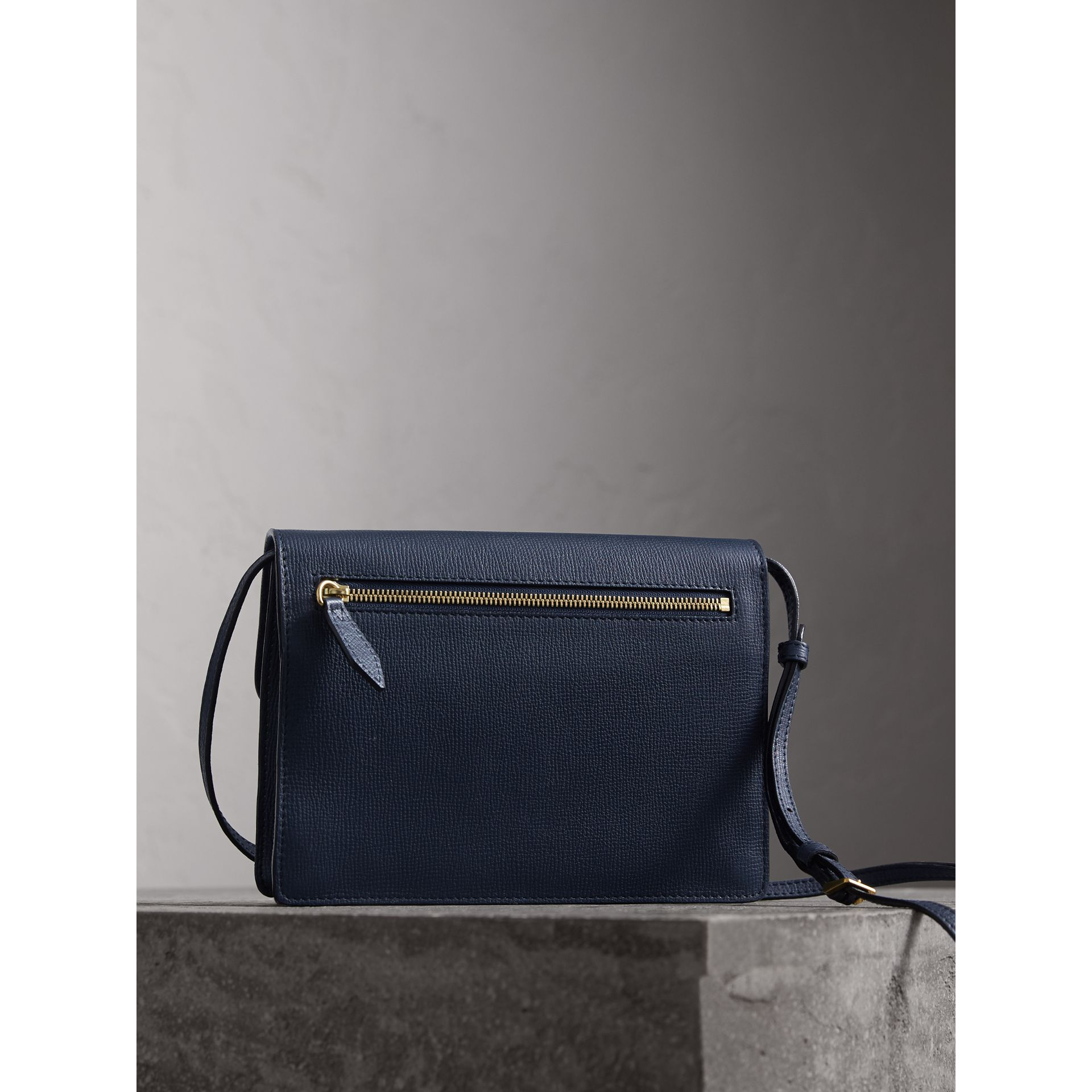Small Leather and House Check Crossbody Bag in Ink Blue - Women | Burberry - gallery image 4