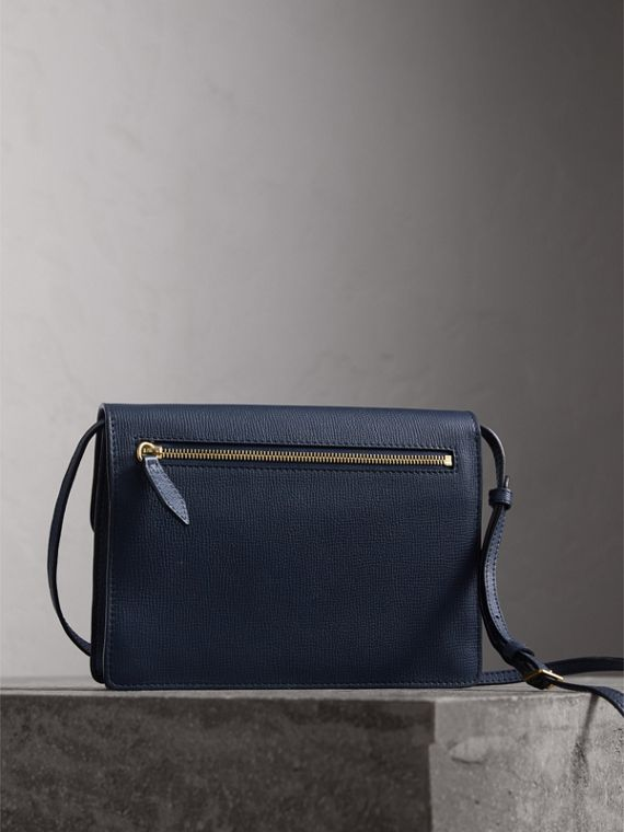 Small Leather and House Check Crossbody Bag in Ink Blue - Women | Burberry - cell image 3