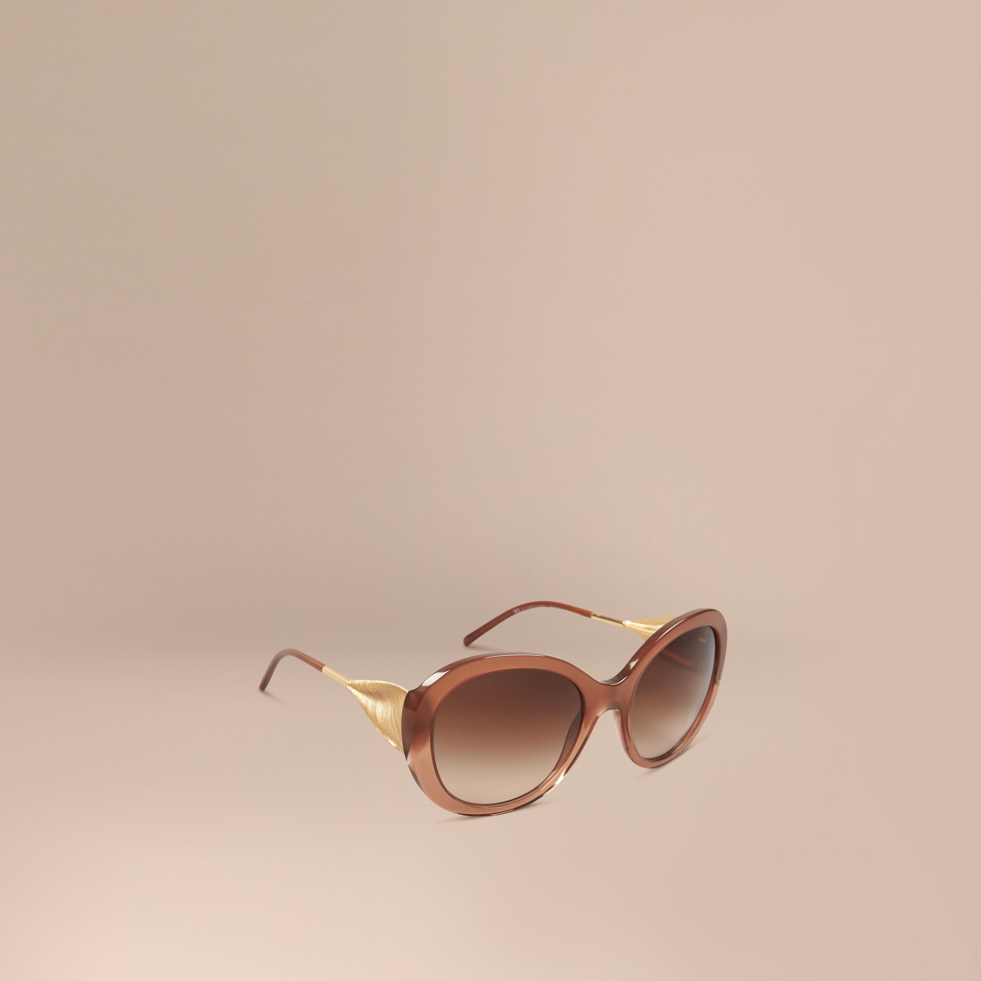 Oversize Round Frame Sunglasses in Fawn Pink - Women | Burberry - gallery image 1