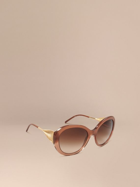 Oversize Round Frame Sunglasses Fawn Pink