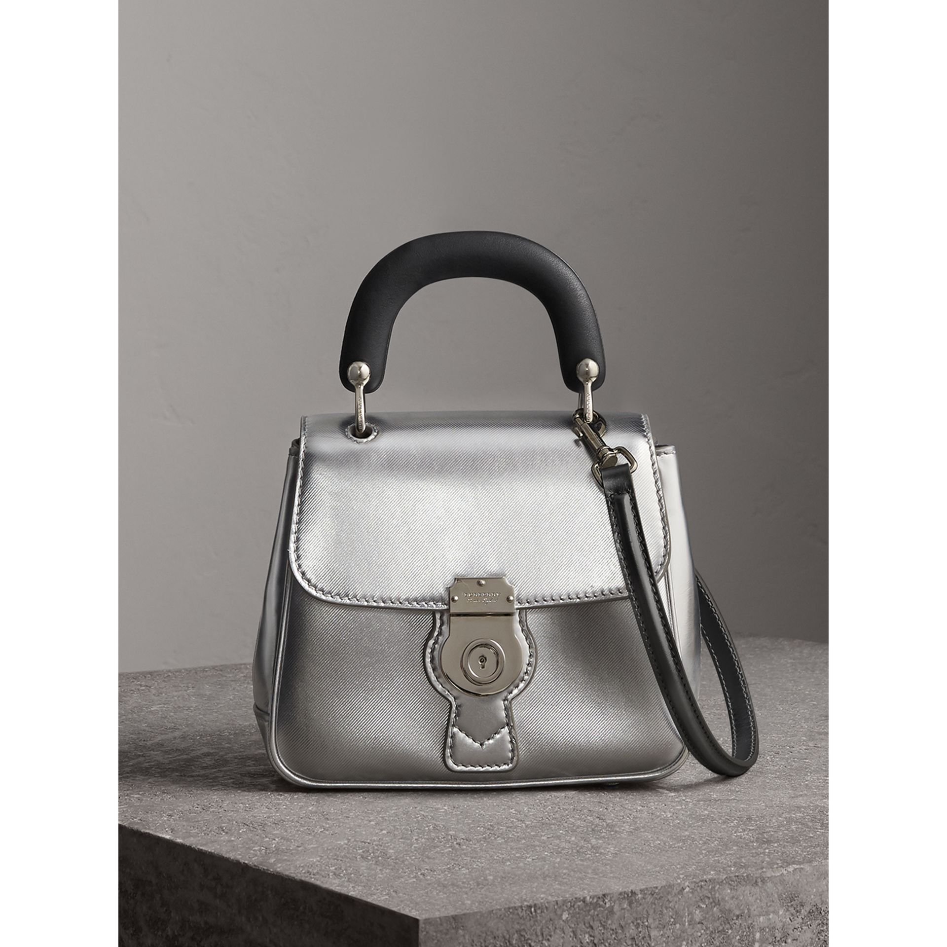 Burberry The Small Dk88 Top Handle Bag In Metallic Leather Silver