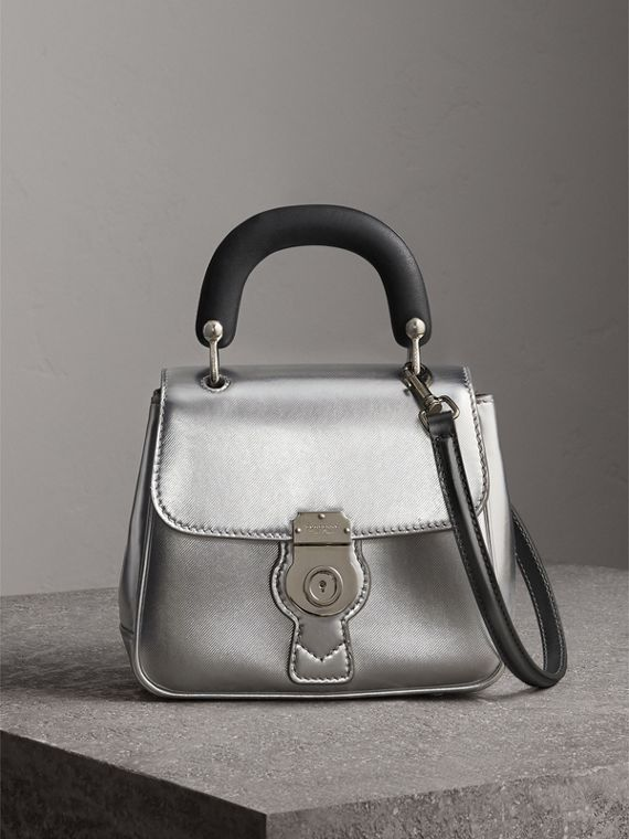 The Small DK88 Top Handle Bag in Metallic Leather in Silver