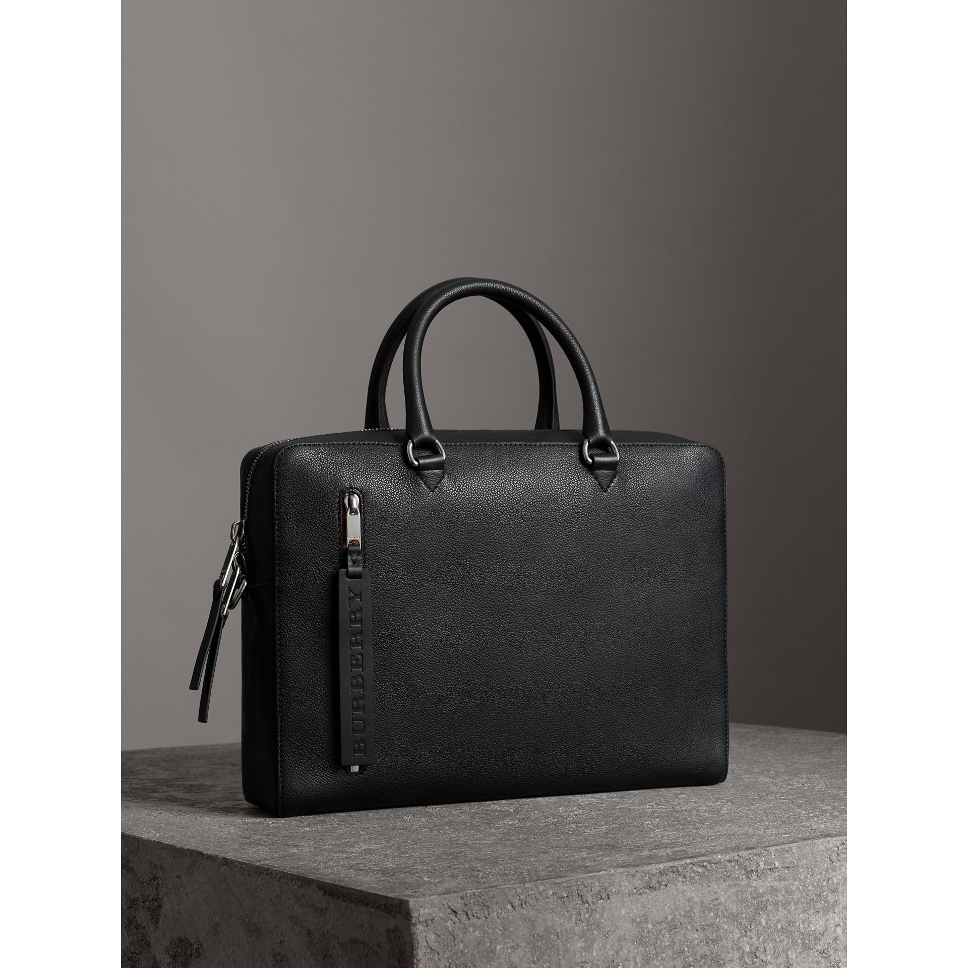 Grainy Leather Briefcase in Black - Men | Burberry - gallery image 6