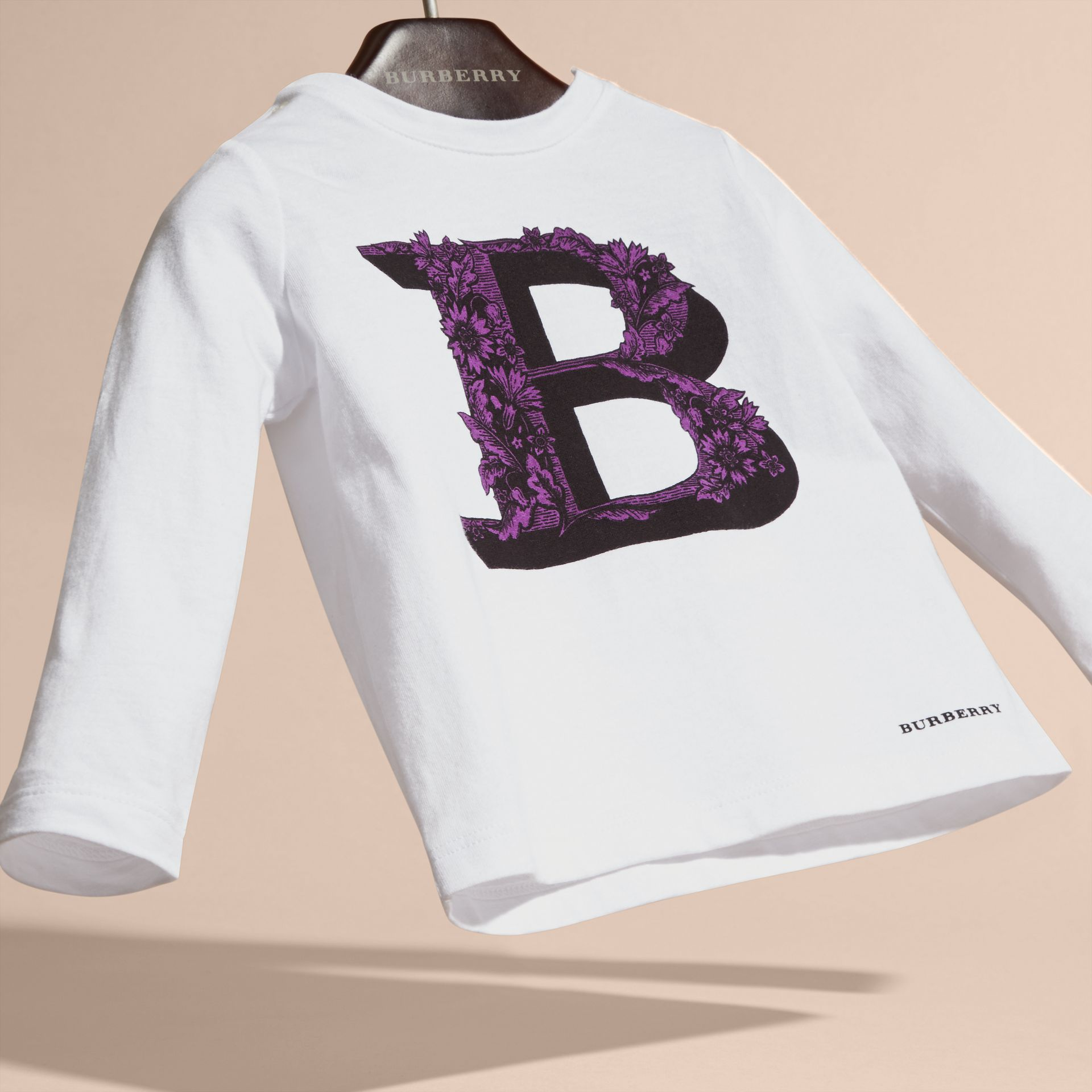 Dark violet Decorative Letter Motif Long-sleeved Cotton T-Shirt - gallery image 3