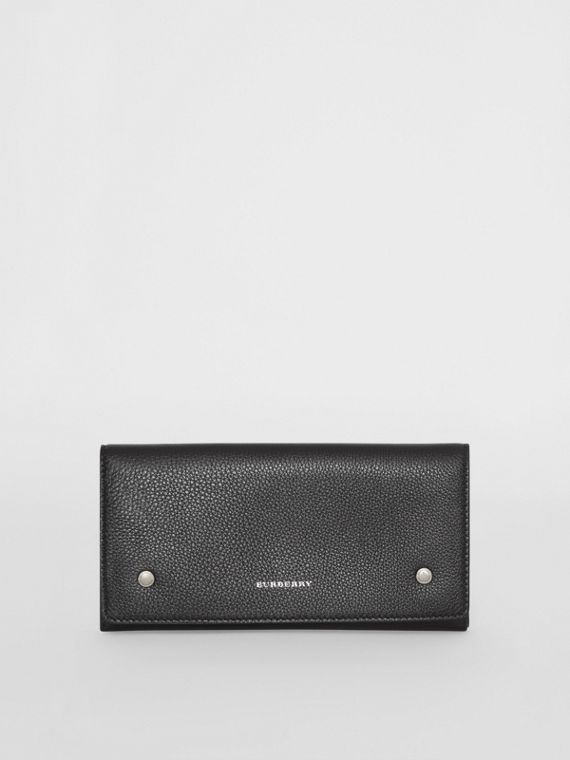 Two-tone Leather Continental Wallet in Black