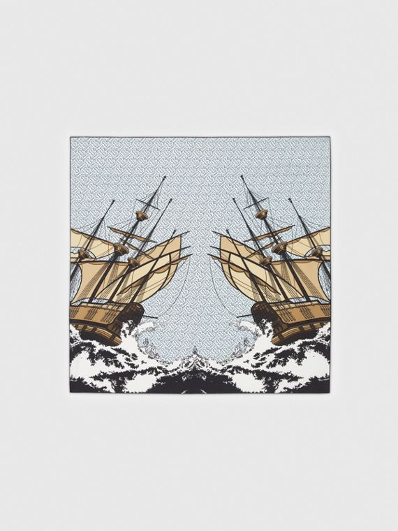 Ship Print Silk Twill Square Scarf in Pale Blue