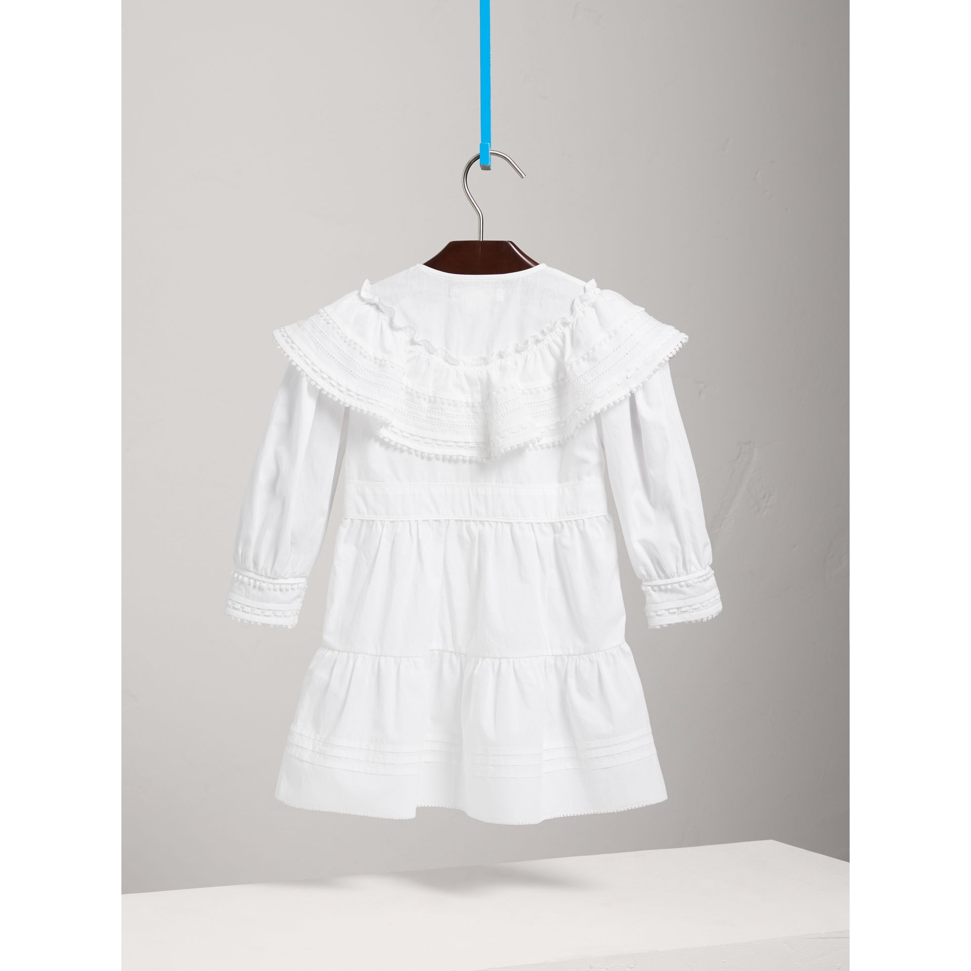 Lace Detail Pleated Cotton Dress in White - Children | Burberry - gallery image 3