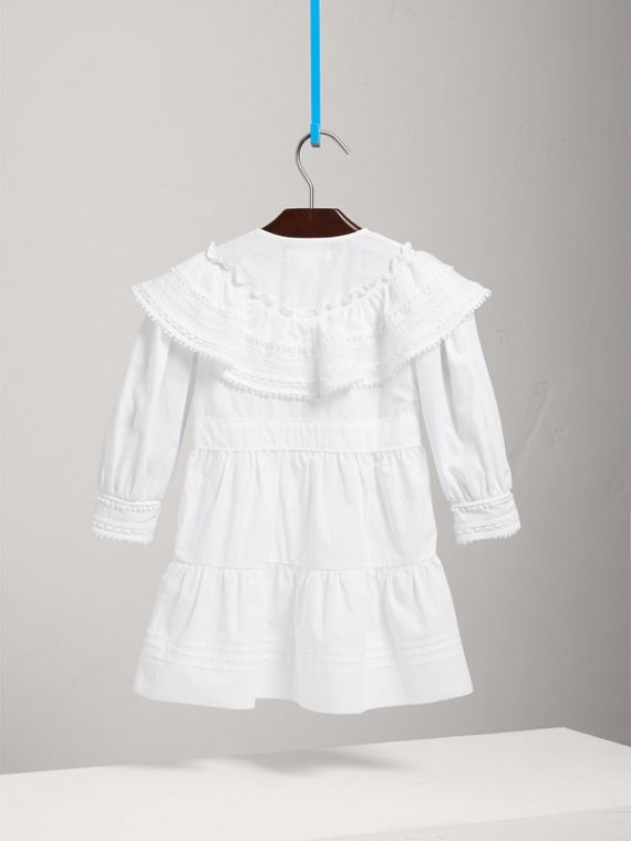 Lace Detail Pleated Cotton Dress in White - Girl | Burberry - cell image 3