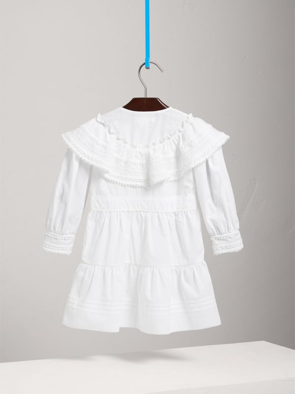 Lace Detail Pleated Cotton Dress in White | Burberry - cell image 3