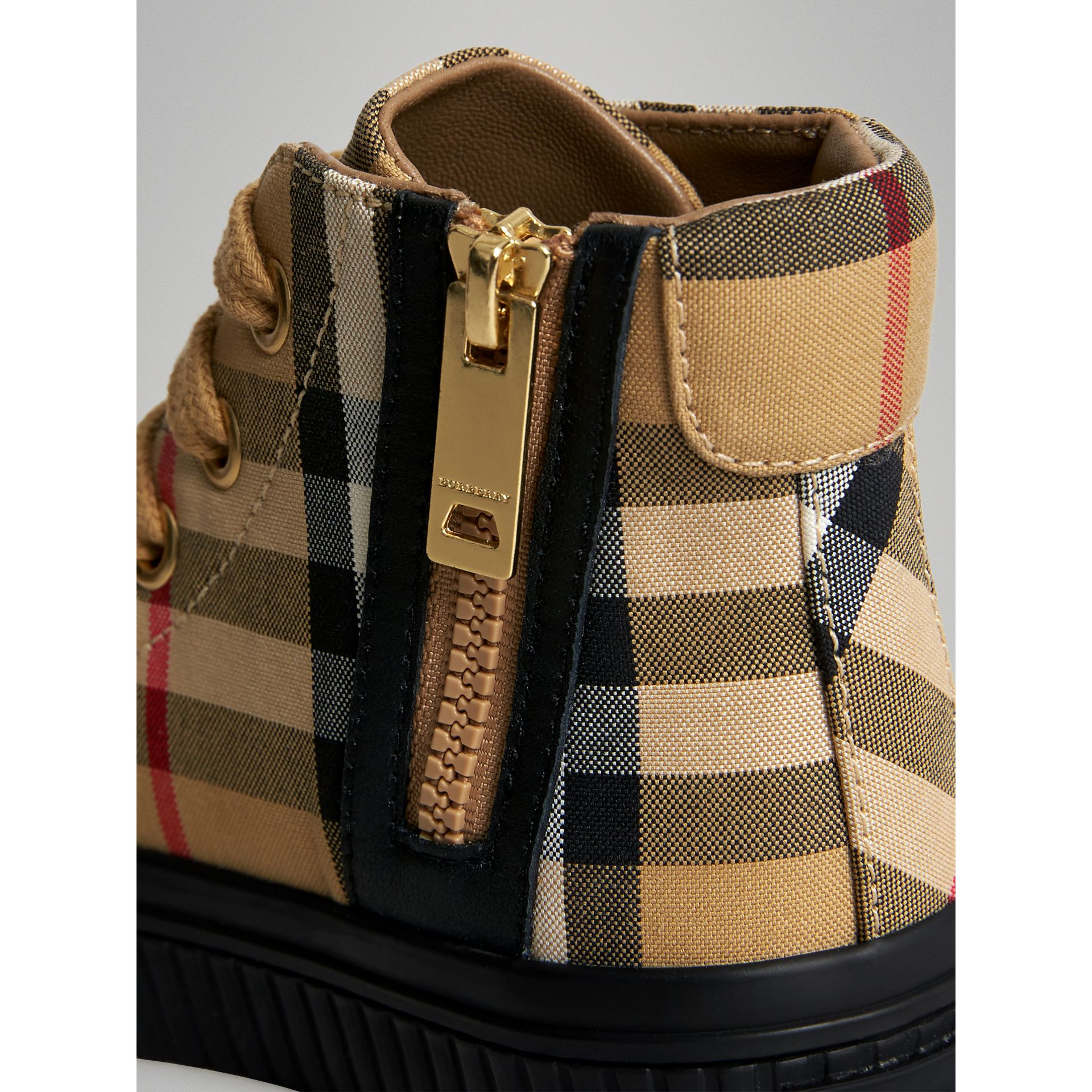 Vintage Check and Leather High-top Sneakers in Antique Yellow/black - Children | Burberry Canada - gallery image 1