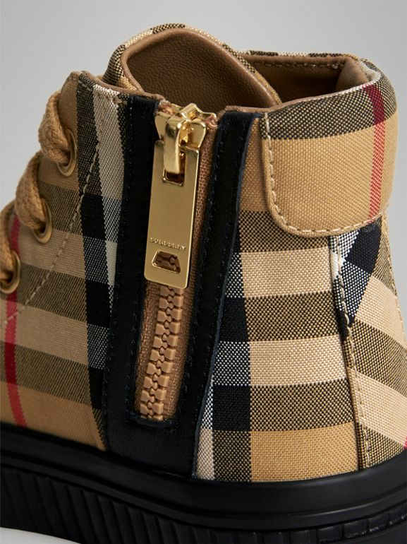Vintage Check and Leather High-top Sneakers in Antique Yellow/black - Children | Burberry Canada - cell image 1