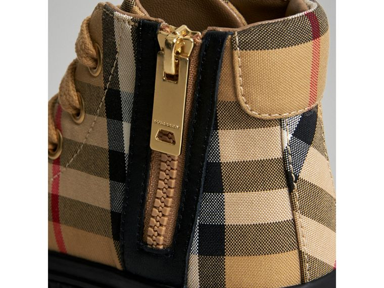 Vintage Check and Leather High-top Sneakers in Antique Yellow/black | Burberry Australia - cell image 1