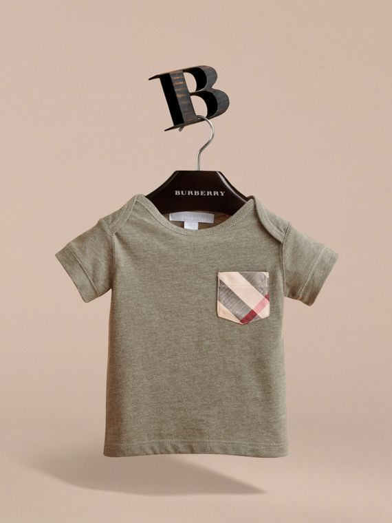 Check Pocket Cotton Jersey T-shirt in Khaki Green | Burberry - cell image 2