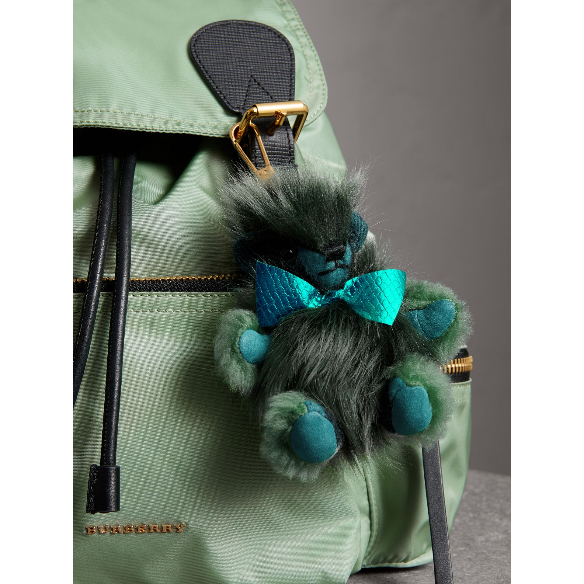 Thomas Bear Pom-Pom Charm in Check Cashmere in Dark Aqua - Women | Burberry - gallery image 3