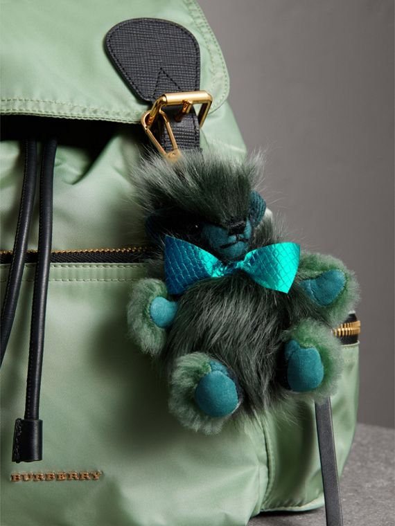 Thomas Bear Pom-Pom Charm in Check Cashmere in Dark Aqua - Women | Burberry United Kingdom - cell image 2