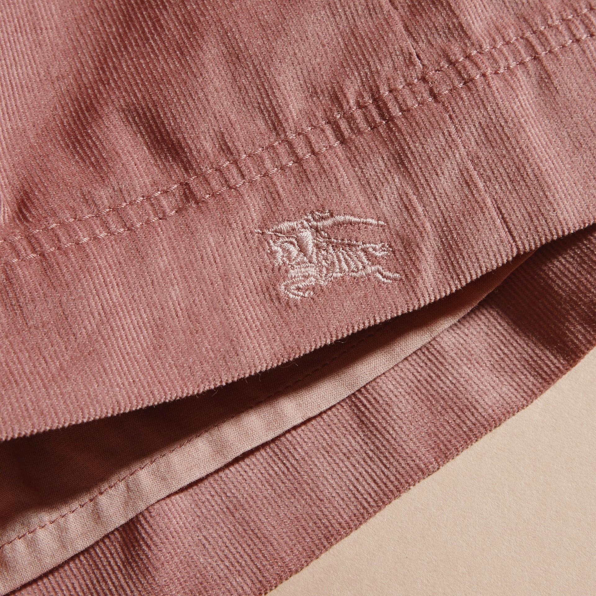 Rose cendré pâle Robe chemise en coton côtelé Rose Cendré Pâle - photo de la galerie 2