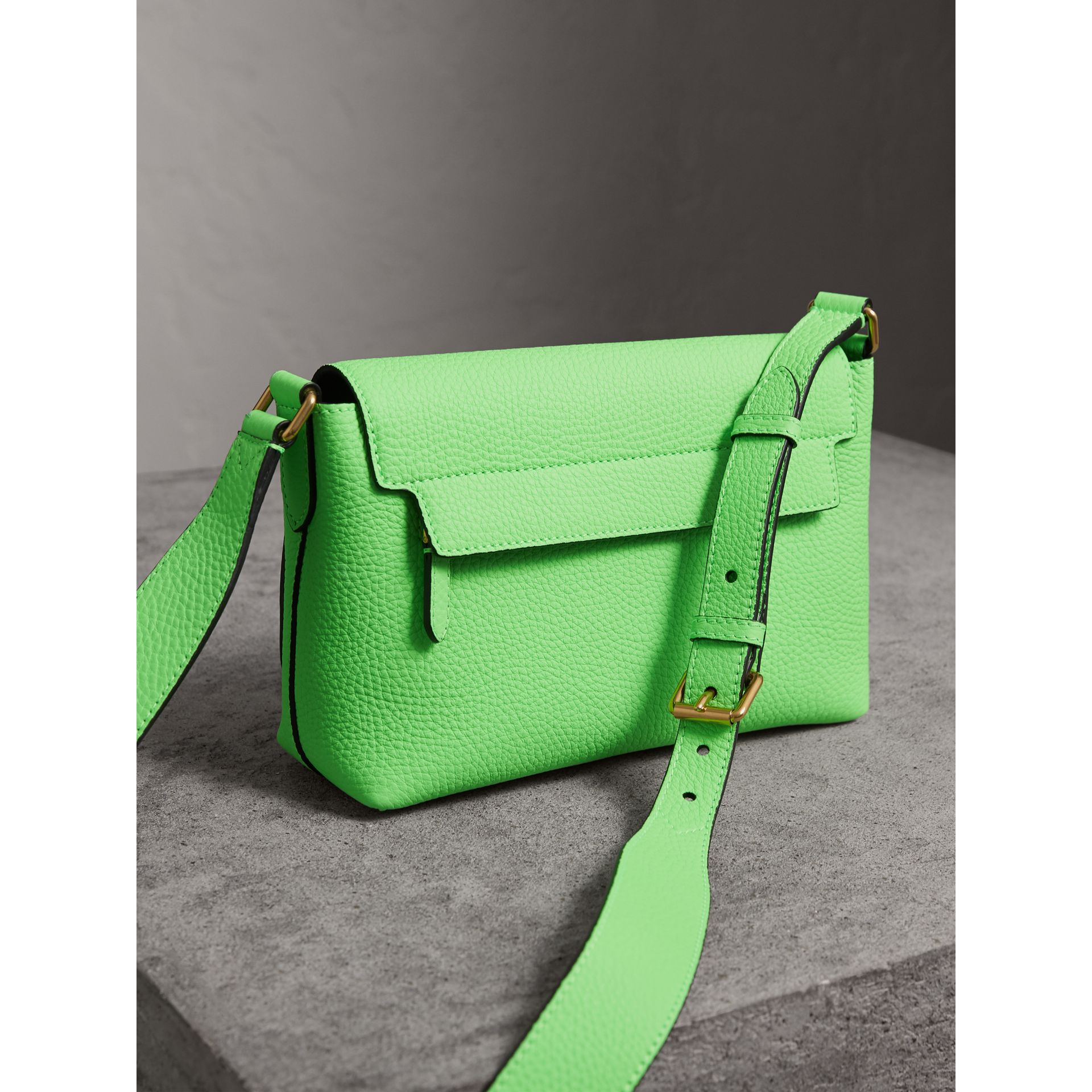Small Embossed Neon Leather Messenger Bag in Green | Burberry - gallery image 4