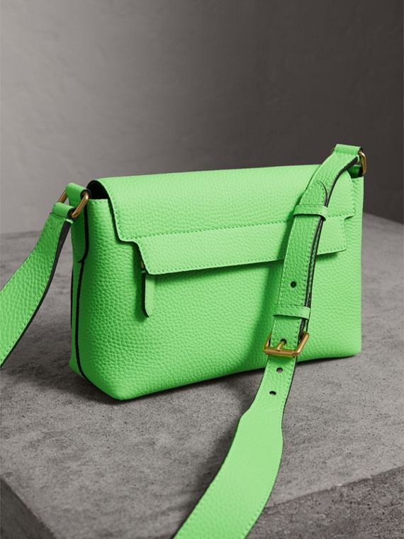 Small Embossed Neon Leather Messenger Bag in Green | Burberry - cell image 3